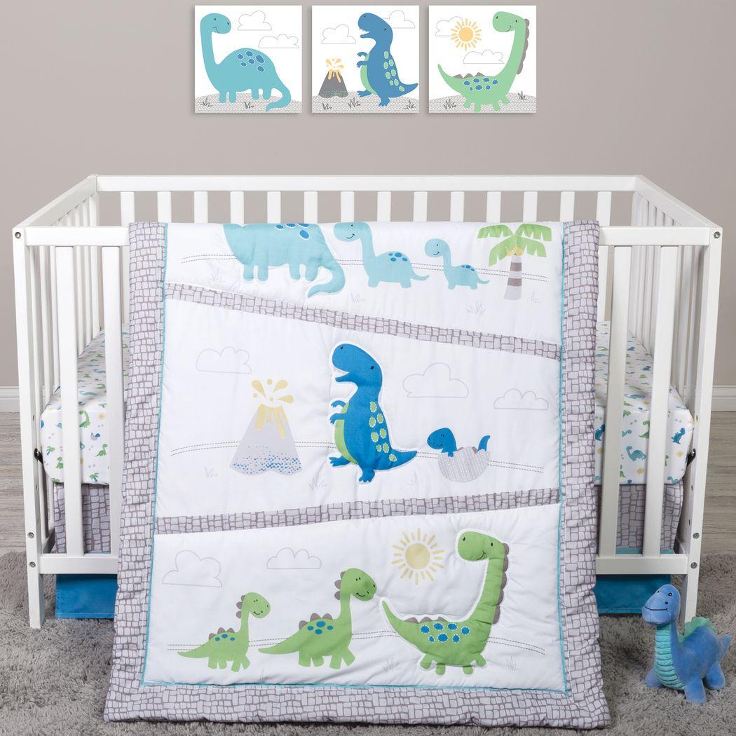Dino Trail White 4 Pc Baby Bedding Set