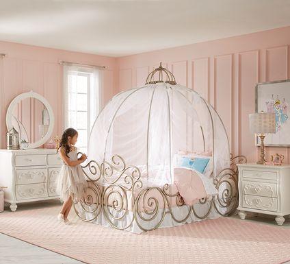 Disney Princess Dreamer White 6 Pc Twin Carriage Bedroom