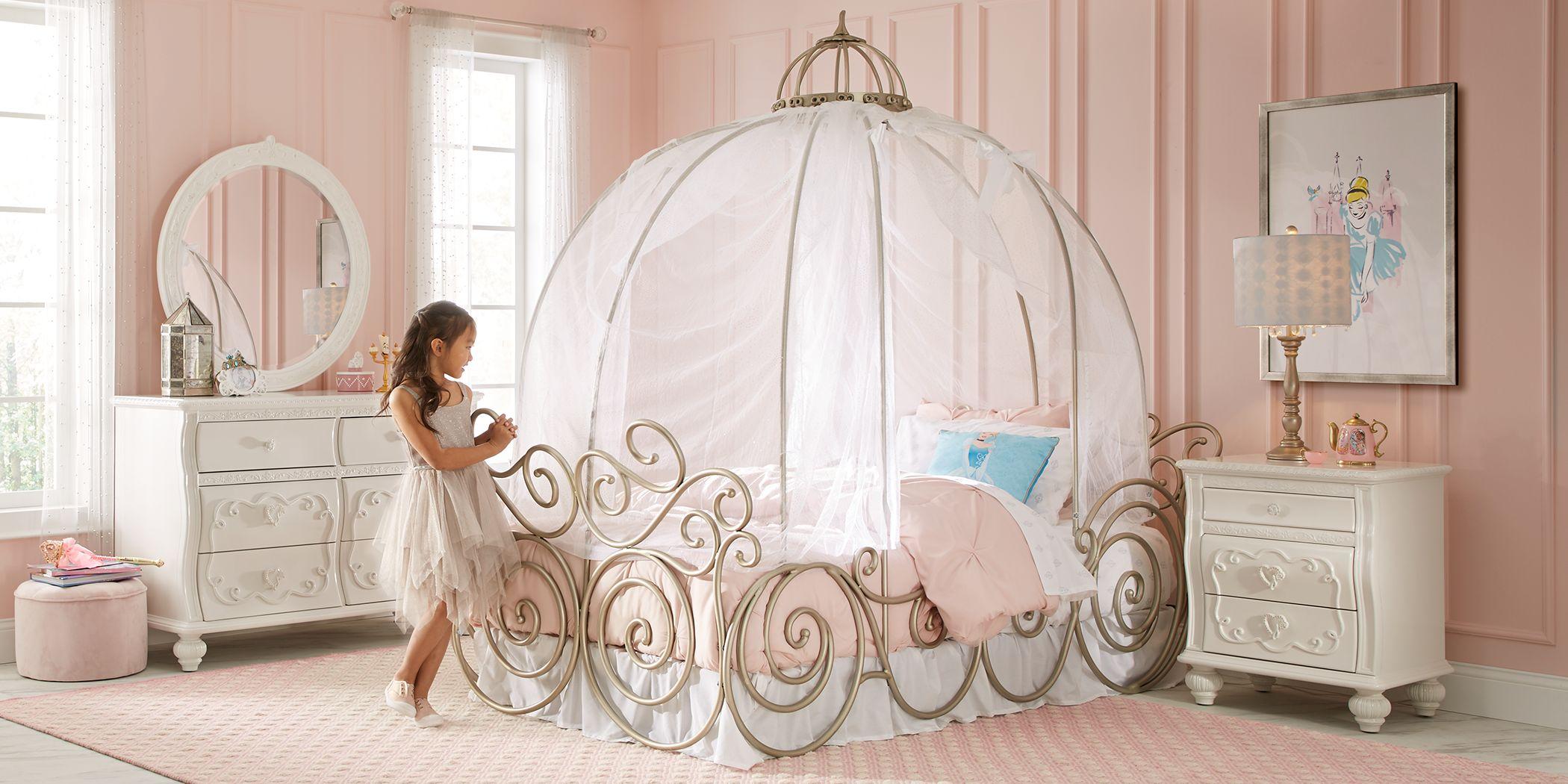 Disney Princess Dreamer White 6 Pc Full Carriage Bedroom