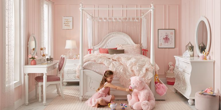 Disney Princess Dreamer White 6 Pc Twin Canopy Bedroom