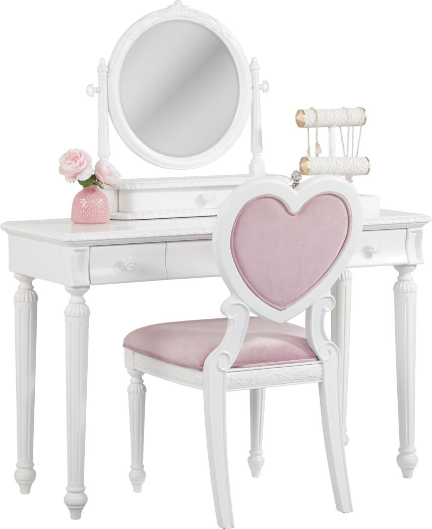 Disney Princess Dreamer White Vanity Set Rooms To Go