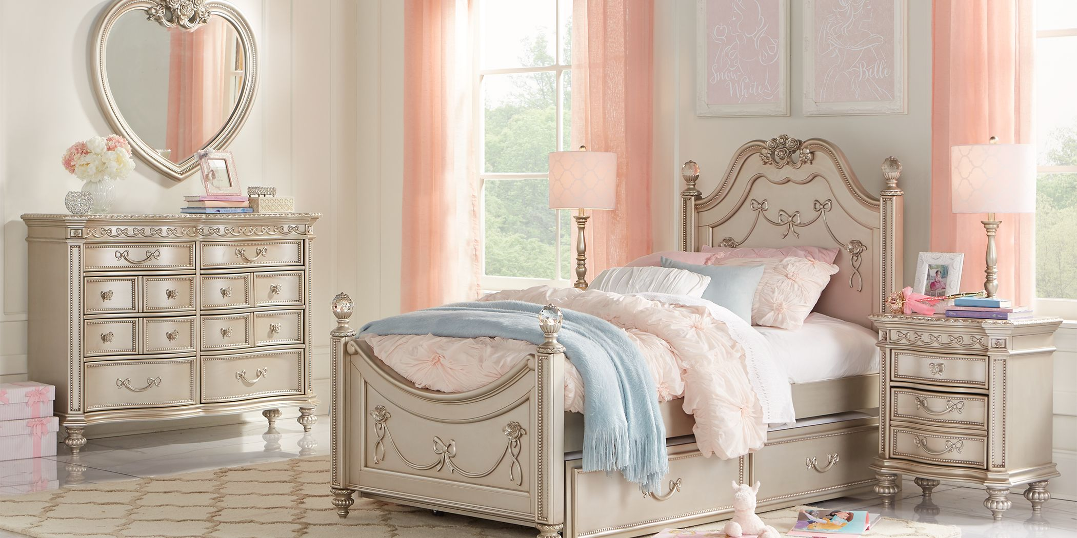Disney Princess Fairytale Silver 5 Pc Full Poster Bedroom