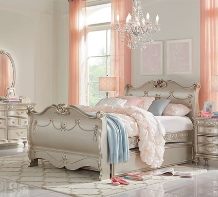 Disney Princess Fairytale Silver 5 Pc Full Sleigh Bedroom