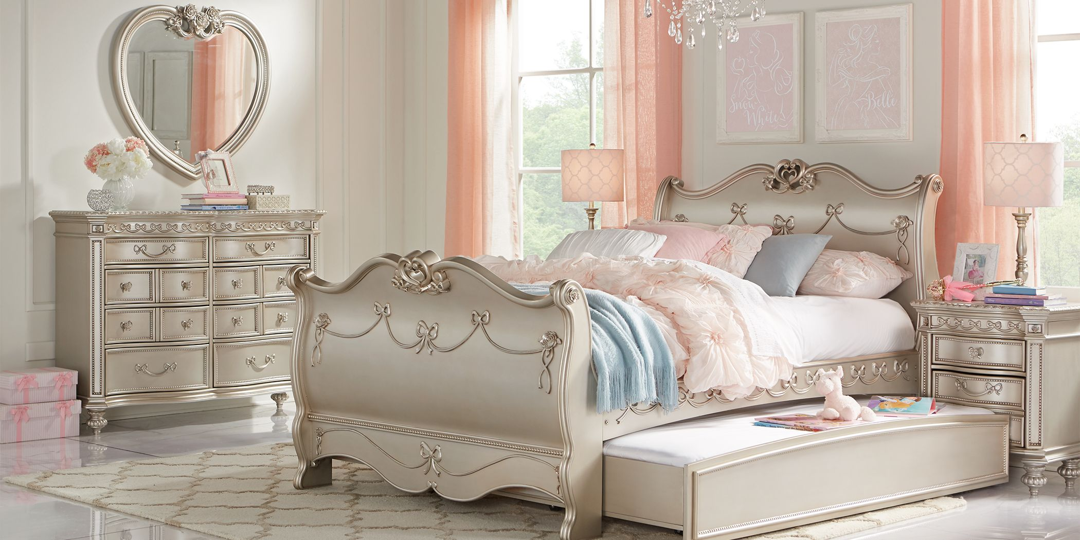 Disney Princess Fairytale Silver 5 Pc Full Sleigh Bedroom