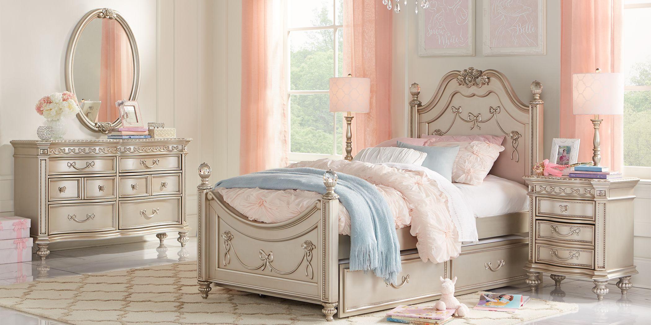 Disney Princess Fairytale Silver 5 Pc Twin Poster Bedroom