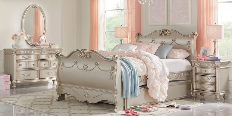 Disney Princess Fairytale Silver 5 Pc Twin Sleigh Bedroom