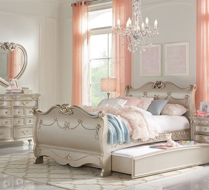 Disney Princess Fairytale Silver 5 Pc Twin Sleigh Bedroom