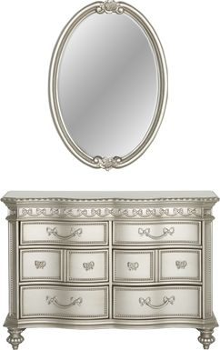 Disney Princess Fairytale Silver 6 Drawer Dresser & Oval Mirror Set