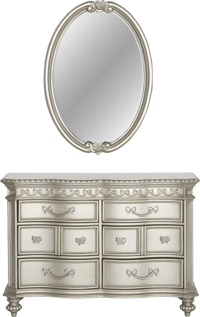 Disney Princess Fairytale Silver 6 Drawer Dresser & Oval Mirror Set