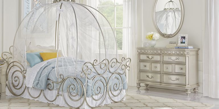 Disney Princess Fairytale Silver 6 Pc Twin Carriage Bedroom