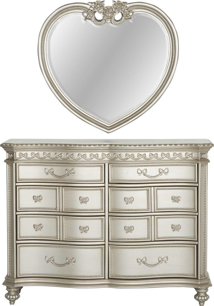 Disney Princess Fairytale Silver 8 Drawer Dresser & Heart Mirror Set