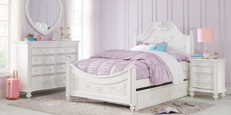 Disney Princess Fairytale White 5 Pc Full Poster Bedroom