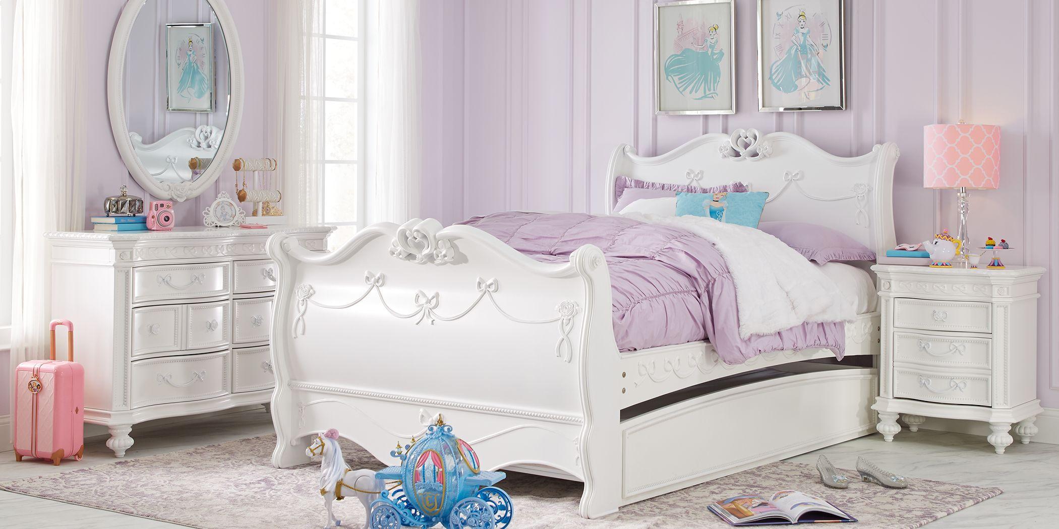 Disney Princess Fairytale White 5 Pc Twin Sleigh Bedroom