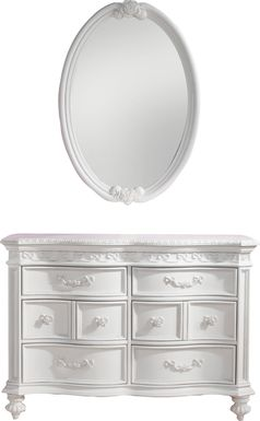 Disney Princess Fairytale White 6 Drawer Dresser & Oval Mirror Set