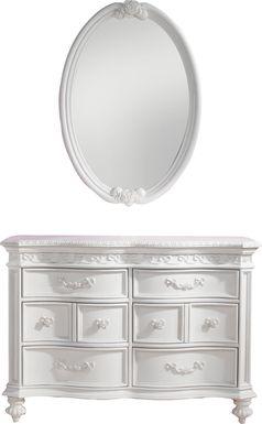 Disney Princess Fairytale White 6 Drawer Dresser & Oval Mirror Set