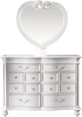 Disney Princess Fairytale White 8 Drawer Dresser & Heart Mirror Set