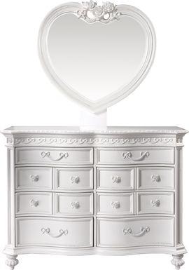 Disney Princess Fairytale White 8 Drawer Dresser & Heart Mirror Set
