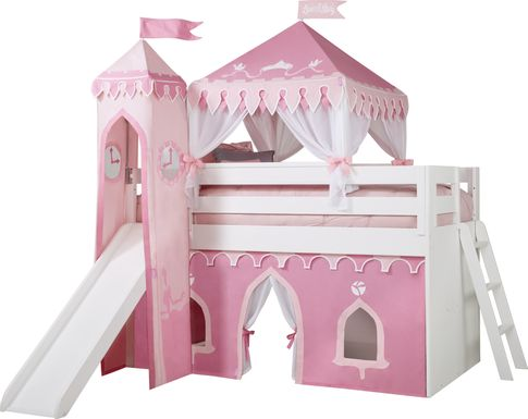 Disney Princess Fairytale White Loft Bed with Slide and Tower