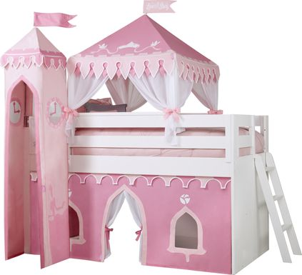 Disney Princess Fairytale White Loft Bed with Whiteboard and Tower