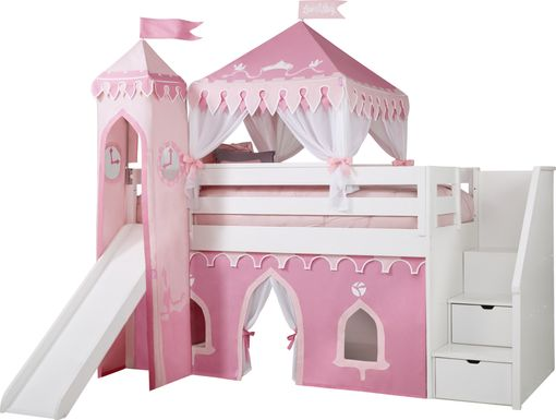 Disney Princess Fairytale White Step Loft Bed with Slide and Tower