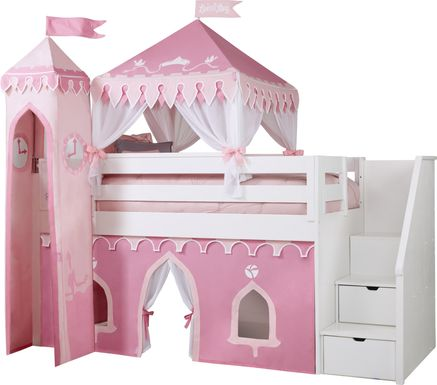 Disney Princess Fairytale White Step Loft Bed with Whiteboard and Tower