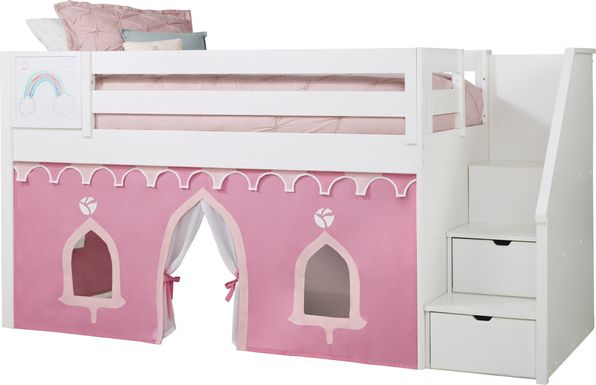 Disney Princess Fairytale White Step Loft Bed with Whiteboard