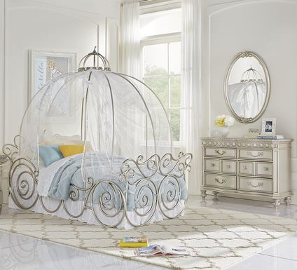 Disney Princess Fairytale Silver 6 Pc Twin Carriage Bedroom