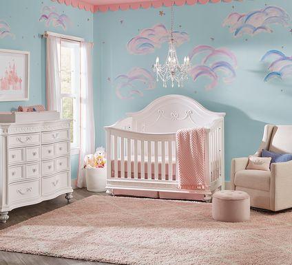 Disney Princess White 5 Pc Nursery with Toddler Rails