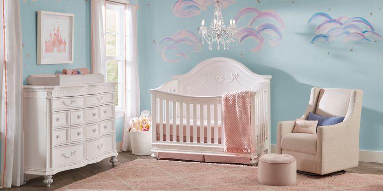Disney Princess White 6 Pc Nursery with Toddler & Conversion Rails