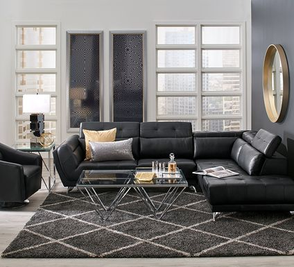 Dolcedo Black 2 Pc Leather Sectional
