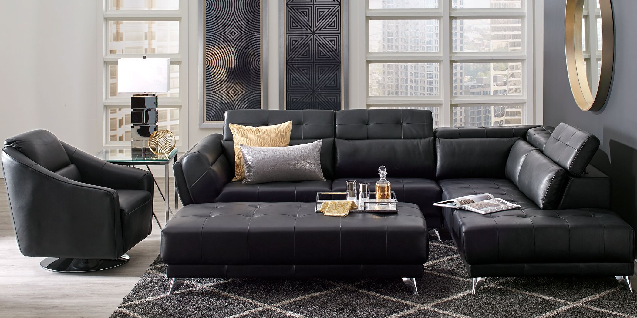 Commercial Office Paint Color Ideas, Dolcedo Black 5 Pc Leather Sectional Living Room Rooms To Go
