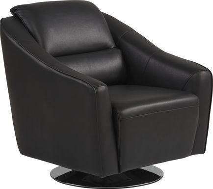 Dolcedo Black Leather Swivel Chair