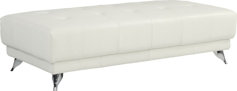 Dolcedo White Leather Cocktail Ottoman