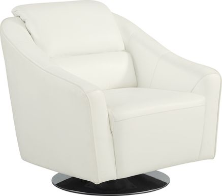 Dolcedo White Leather Swivel Chair