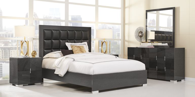 Dominique Black 7 Pc King Panel Bedroom