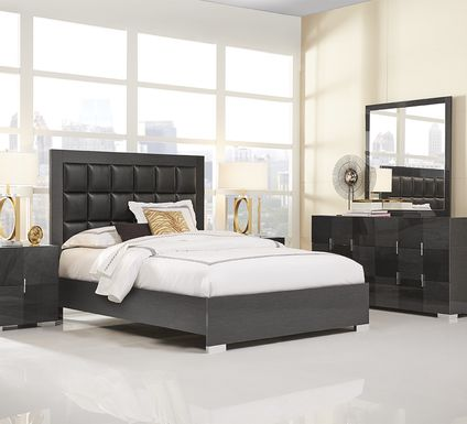 Dominique Black 7 Pc Queen Panel Bedroom