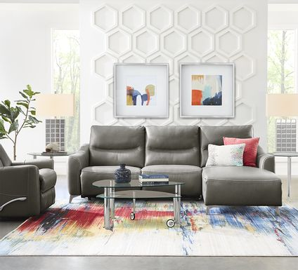 Domio Gray Leather 3 Pc Sectional