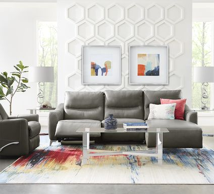 Domio Gray Leather 7 Pc Power Reclining Sectional Living Room