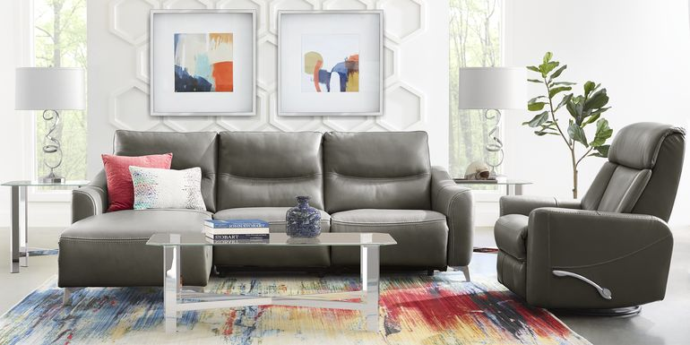 Domio Gray Leather 7 Pc Sectional Living Room