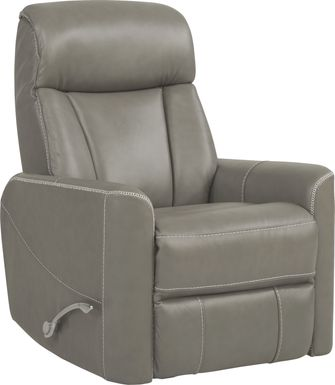 Domio Gray Leather Swivel Glider Recliner