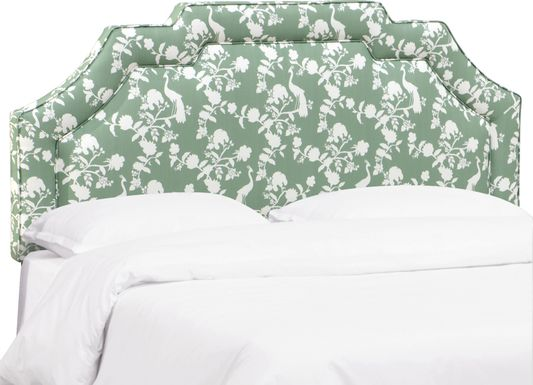 Douro Green Queen Upholstered Headboard