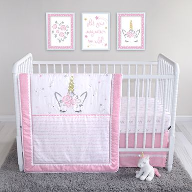 Dreaming Unicorn Pink 4 Pc Baby Bedding Set