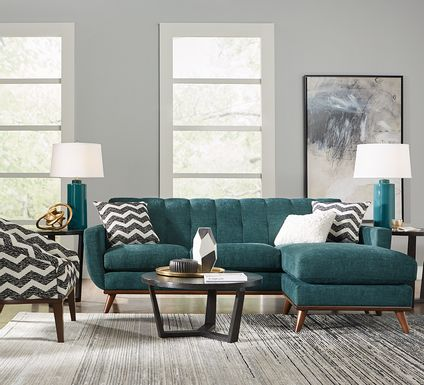 East Side Teal Chaise Sofa