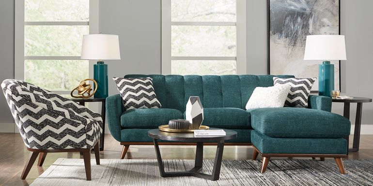 East Side Teal 5 Pc Sectional Living Room