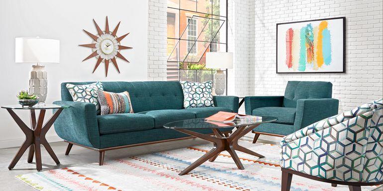 East Side Teal 7 Pc Living Room