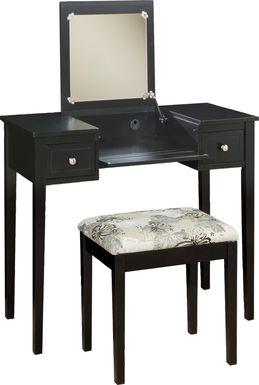 Eden Falls Black Vanity, Mirror and Stool Set