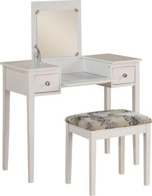 Eden Falls White Vanity, Mirror and Stool Set