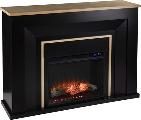 Elmington II Black 52 in. Console, With Electric Log Fireplace