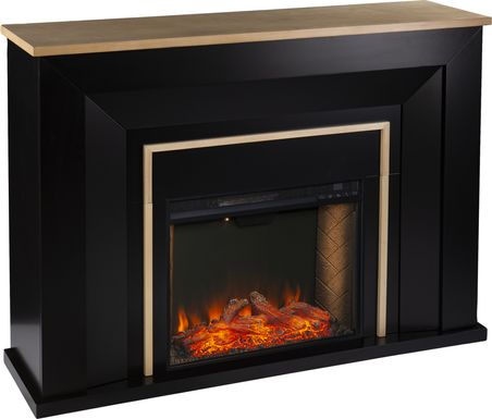 Elmington III Black 52 in. Console, With Smart Electric Fireplace