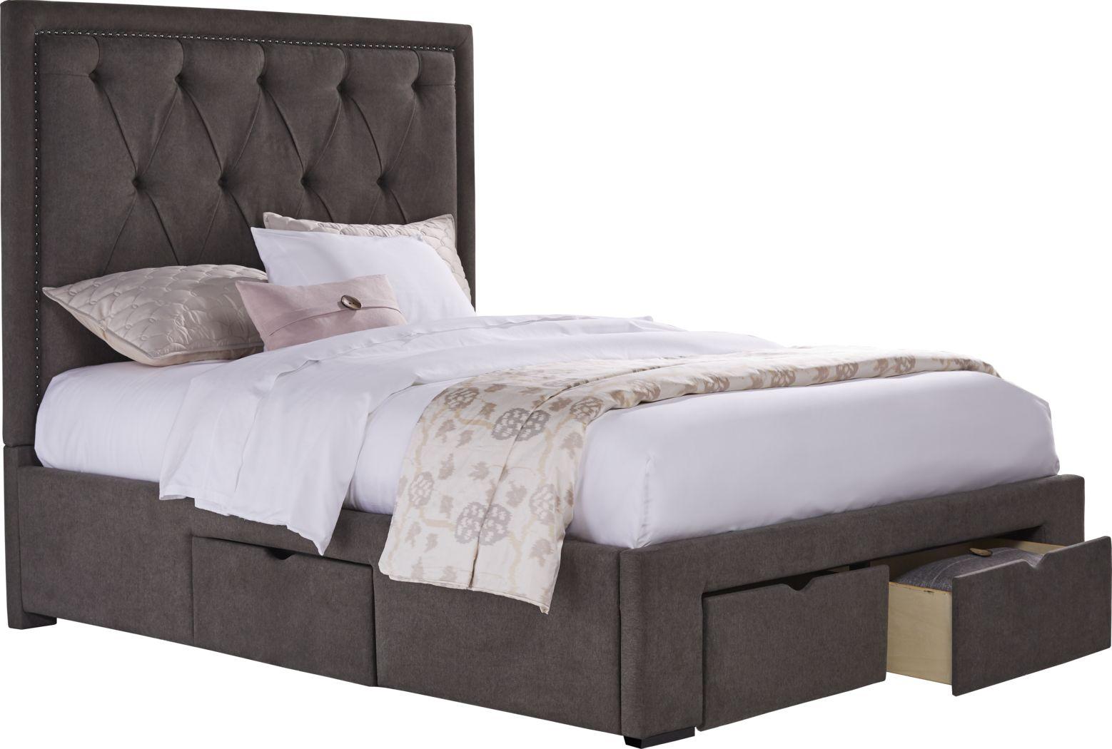 Elridge Granite 3 Pc King Upholstered Bed with 4 Drawer Storage